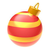Striped glossy red and yellow 3D Christmas ball isolated on white background — Stok fotoğraf