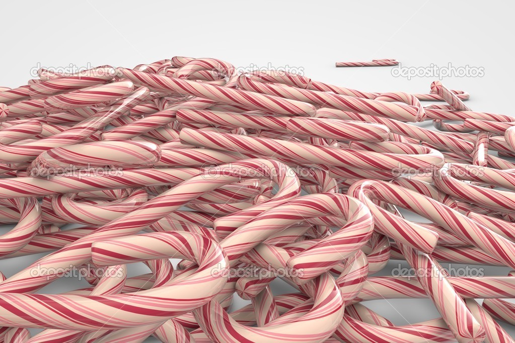 A lot of Christmas candy canes on white background (3d illustration) — Stock Photo #15730725
