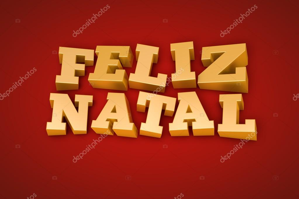 Golden Feliz Natal (Merry Christmas in portuguese) text on a red background (3d illustration) — Stok fotoğraf #15730753