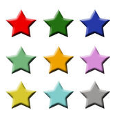 Star icons buttons colourful — Stock Photo