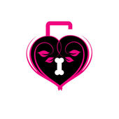 Pink heart shaped lock — Stock Vector