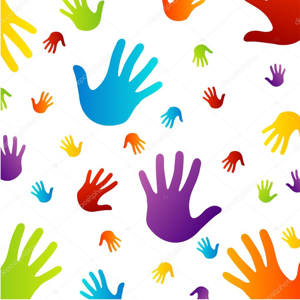 Colorful Hands Background Background With Colorful Hands