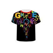 T shirt modello - colorato lettere — Vettoriale Stock