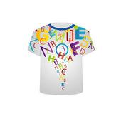 T tričko šablona - barevná písmena — Stock vektor