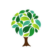 Tree with green leaves — Stock Vector