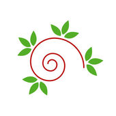 Abstract drawing of a cute snail with green leaves- logo concept — Stock Vector
