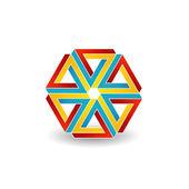 Six penrose triangles shaped like star optical illusion — Stock Vector