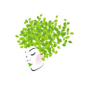 Hair with green leaves- Organic hair product logo — Stock Vector