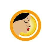 Sun tan logo- A face with a bright yellow sun — Stock Vector
