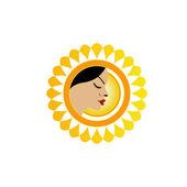 Sun tan logo- A face with a bright yellow sun — Stock Vector