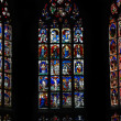 Beautiful stained glass windows in a cathedral in Bern, Switzerland - Stock Photo