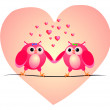 Two owls in love. Vector illustration. — Stock Vector