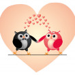 Owls couple in love. Vector illustration. — Stock Vector