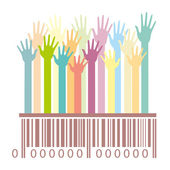 Barcode with hands — Stock Vector