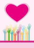 Las manos y el corazón — Vector de stock