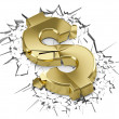 Golden dollar crashed after fall - Stock Photo