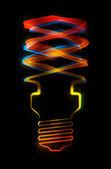 Gevormde strepen van licht - energiebesparende lamp — Stockfoto
