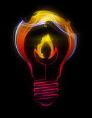 Light bulb with flame made up of abstract energy — Stock Photo