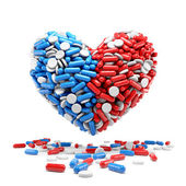 Heart - made up of pills and capsules — Stock Photo