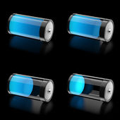 3D Battery with 4 states of charge level — Stock Photo