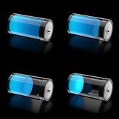 Batería 3d con 4 estados de nivel de carga — Foto de Stock
