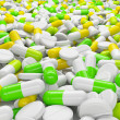 Lot of pills and capsules in perspective view. Medicines concept — Stock Photo