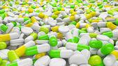 Wiele tabletek i kapsułek w widok perspektywiczny. koncepcja leków — Zdjęcie stockowe