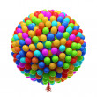 Big bunch of party balloons. Isolated on white background. — Stock Photo
