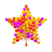 Big bunch of party balloons. Star shaped. Isolated on white background. — Stock Photo
