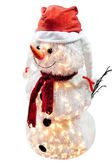 Christmas snowman in santas hat — Stock Photo