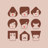 Funny faces — Vector de stock