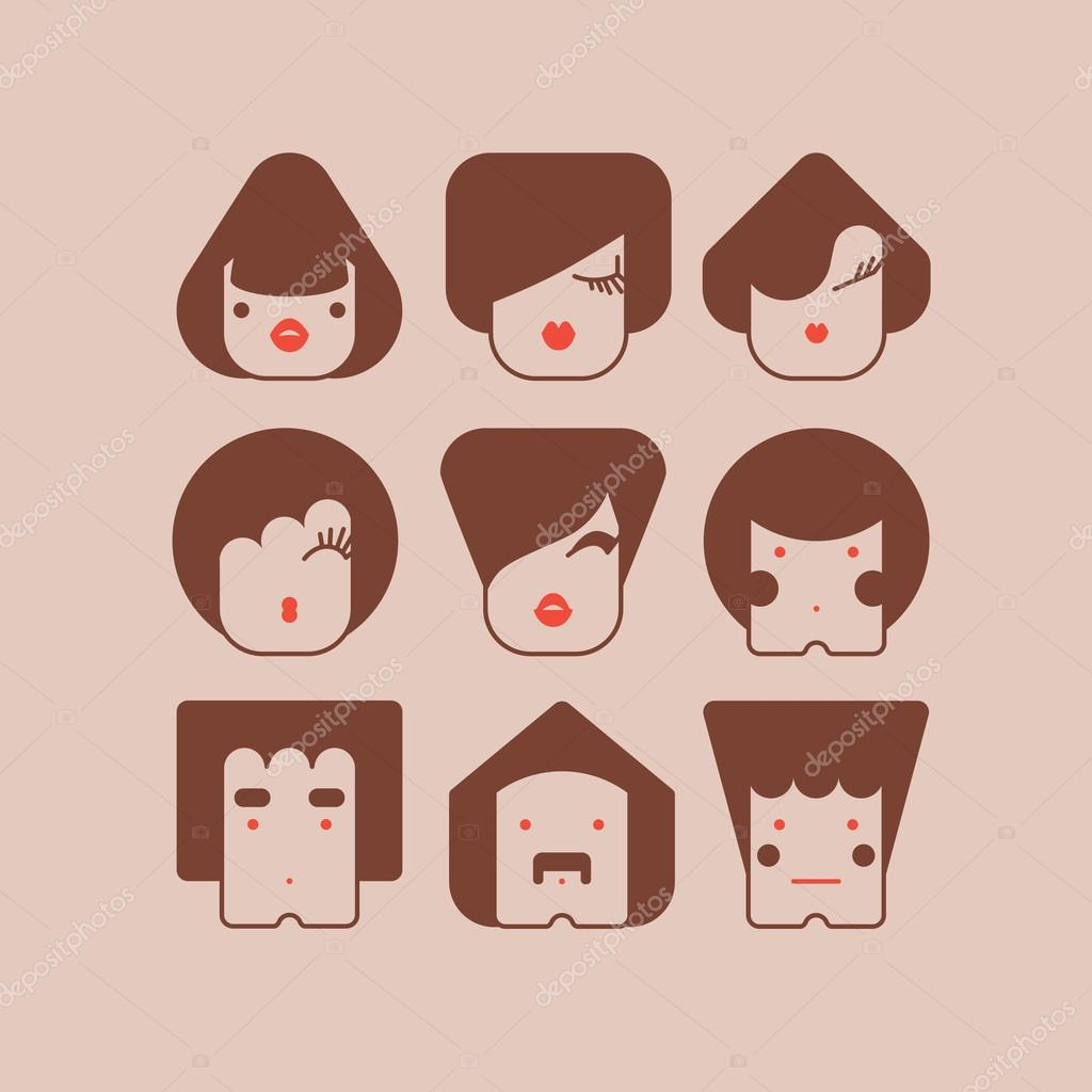 Funny simple faces icons vector — Stock Vector #16647325