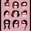 Fashion girls in glasses — 图库矢量图片