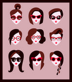 Fashion girls in glasses — Stock Vector