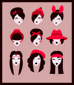 Fashion girls icons — Stock Vector