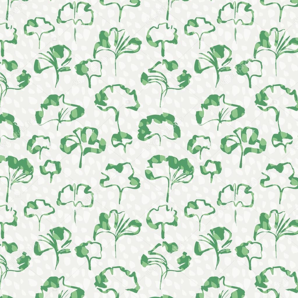 绿色的树叶无缝图案矢量图