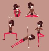 Mujer haciendo posturas de yoga — Vector de stock