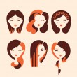Girls with hairstyles and haircuts — Stock Vector