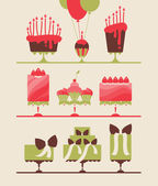 Cakes and cupcakes — Stock Vector