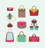 Collection of woman bags — Stock Vector
