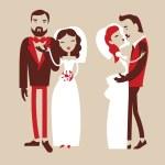Wedding, groom and bride — Vettoriale Stock