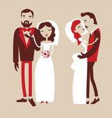 Wedding, groom and bride — Stock Vector