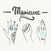 Woman hands with manicure and tattoos illustration — Stock Photo