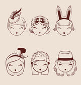 Fashion girls in head accessories icon set hand drawn vector ill — Stock Vector