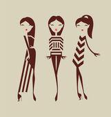 Fashion girls posing isolated on light background vector illustr — Stock Vector