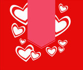 Red hearts with label. Valentine's day — Vector de stock