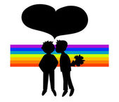 Two black silhouettes of boys in rainbow — Stock Vector