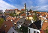 Krumlov. die Dächer der Altstadt. — Stockfoto