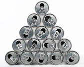 Beverage Cans Pyramid — Stock Photo