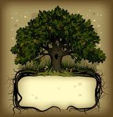 橡木树带横幅 — 图库矢量图片
